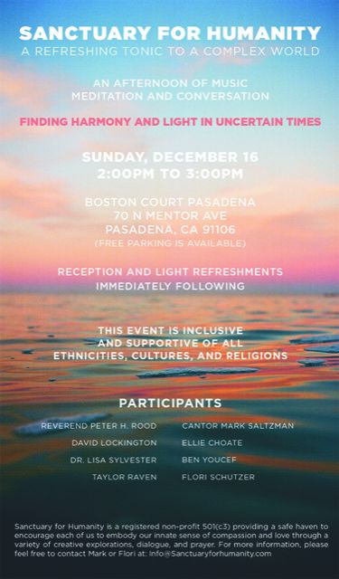 SANCTUARY FOR HUMANITY: An afternoon of music, meditation, and conversation
